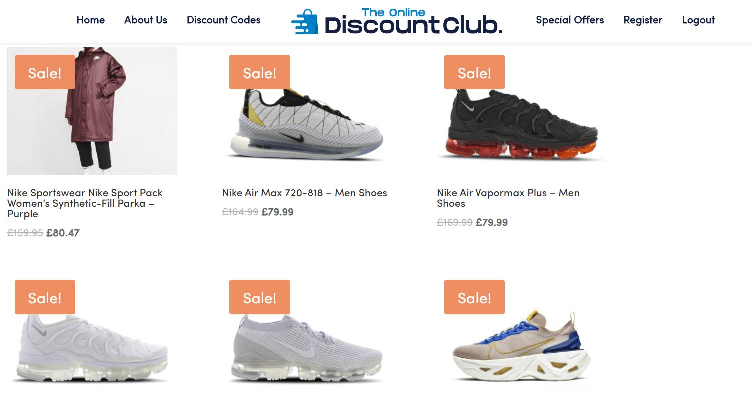 online discount club screenshot sales