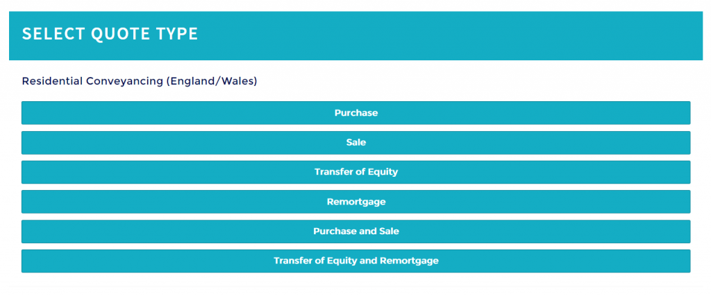 conveyancing quote form selection